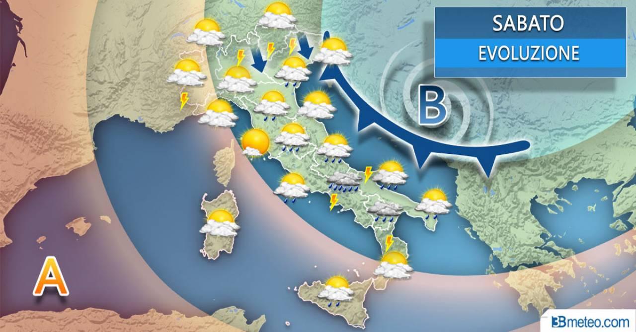 Meteo Italia: la situazione prevista per sabato