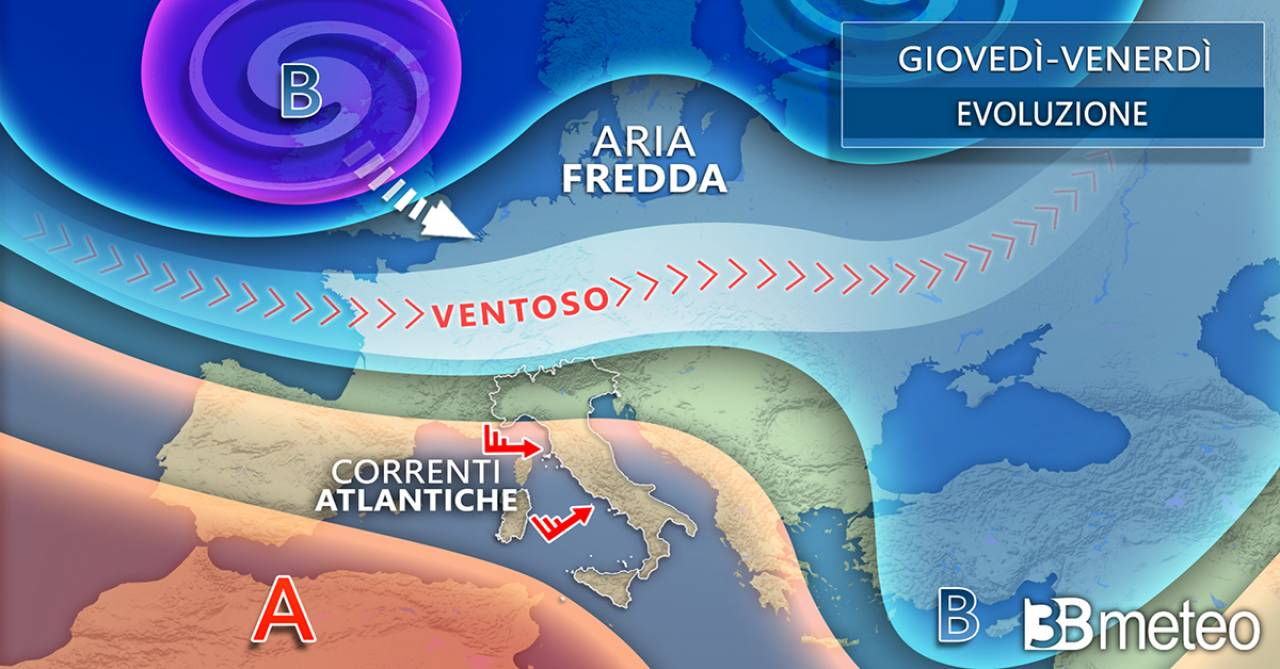 Meteo Italia: la situazione prevista tra giovedì e venerdì a livello europeo