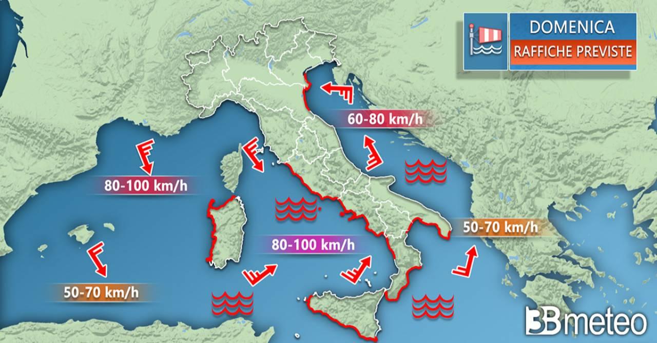 Meteo Italia: le raffiche di vento previste domenica
