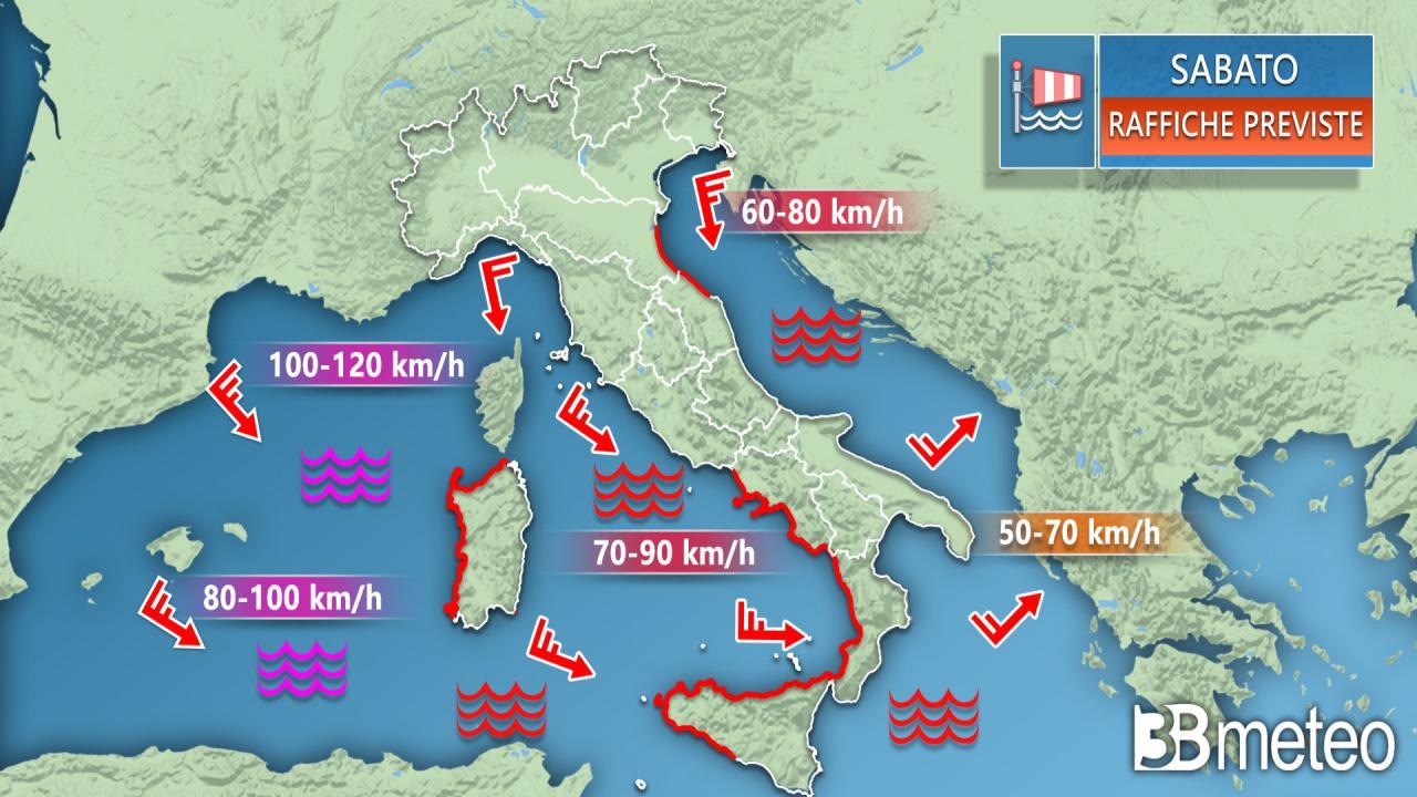 Meteo Italia: le raffiche di vento previste sabato