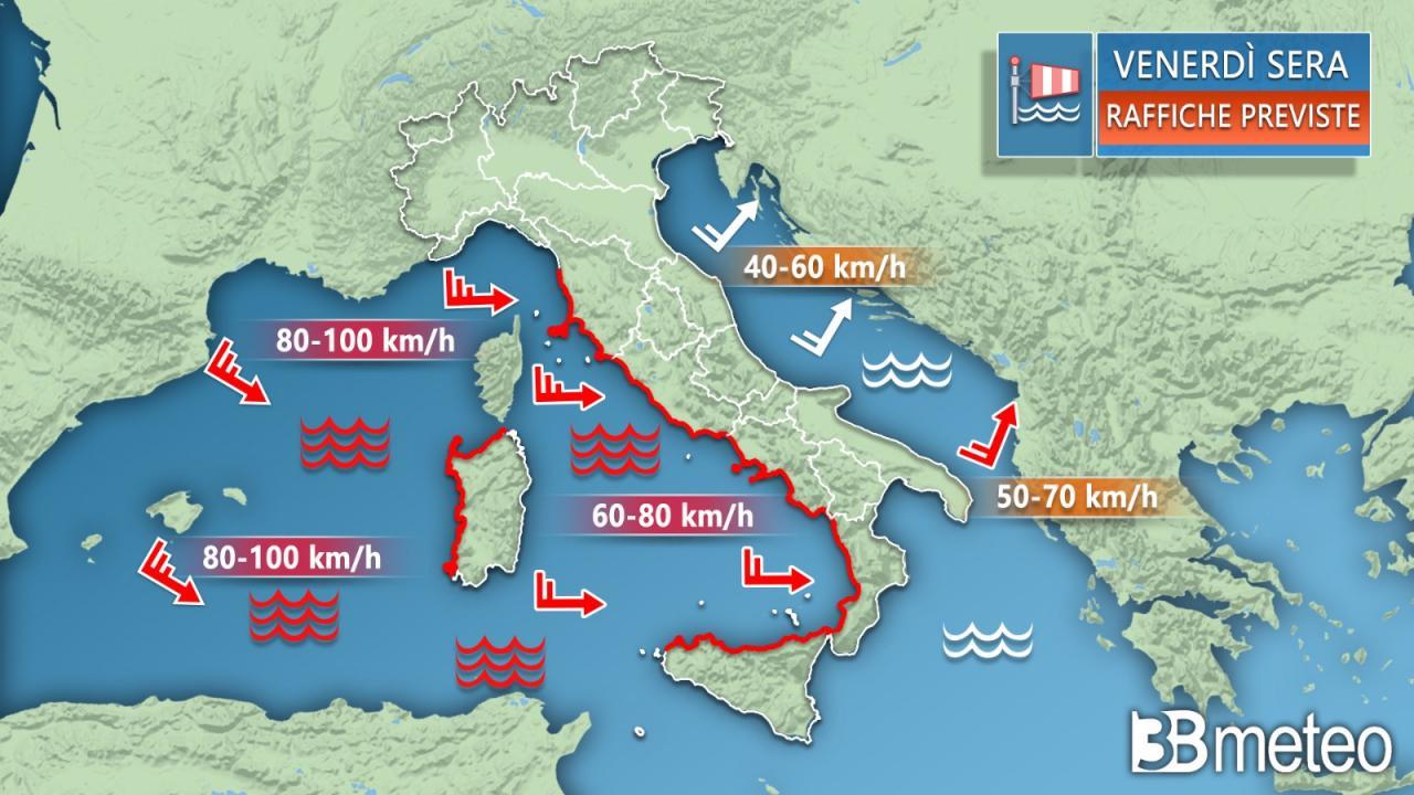 Meteo Italia: le raffiche di vento previste venerdì