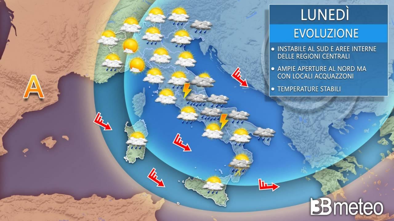 Meteo Italia lunedì. Instabilità ancora in agguato