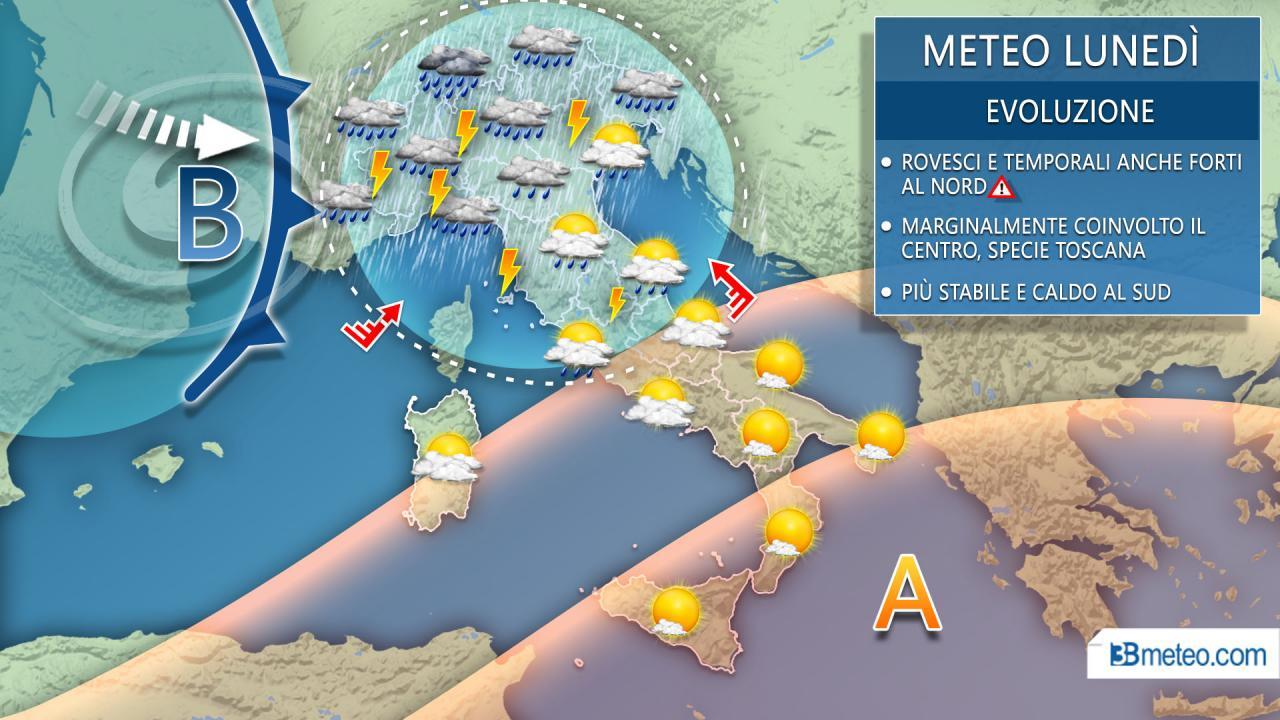 Meteo Italia lunedì, intenso peggioramento al Centro-Nord