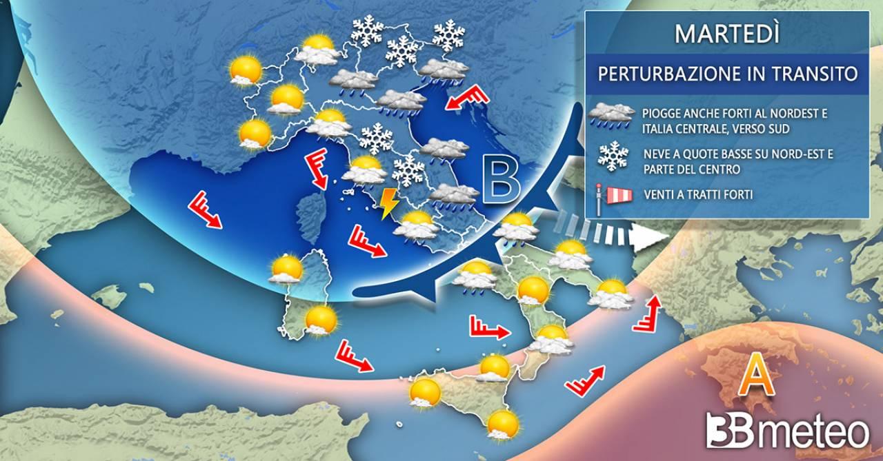 Meteo Italia martedì. Instabilità diffusa e temperature in calo