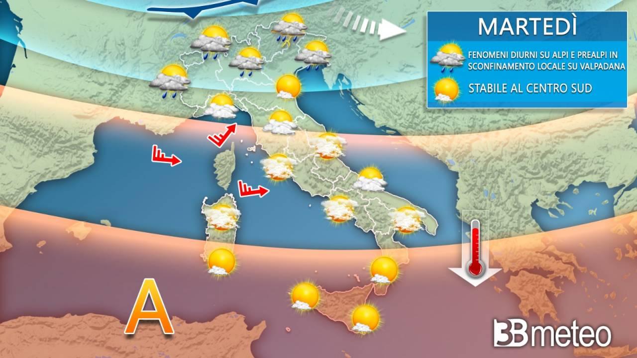 Meteo Italia martedì