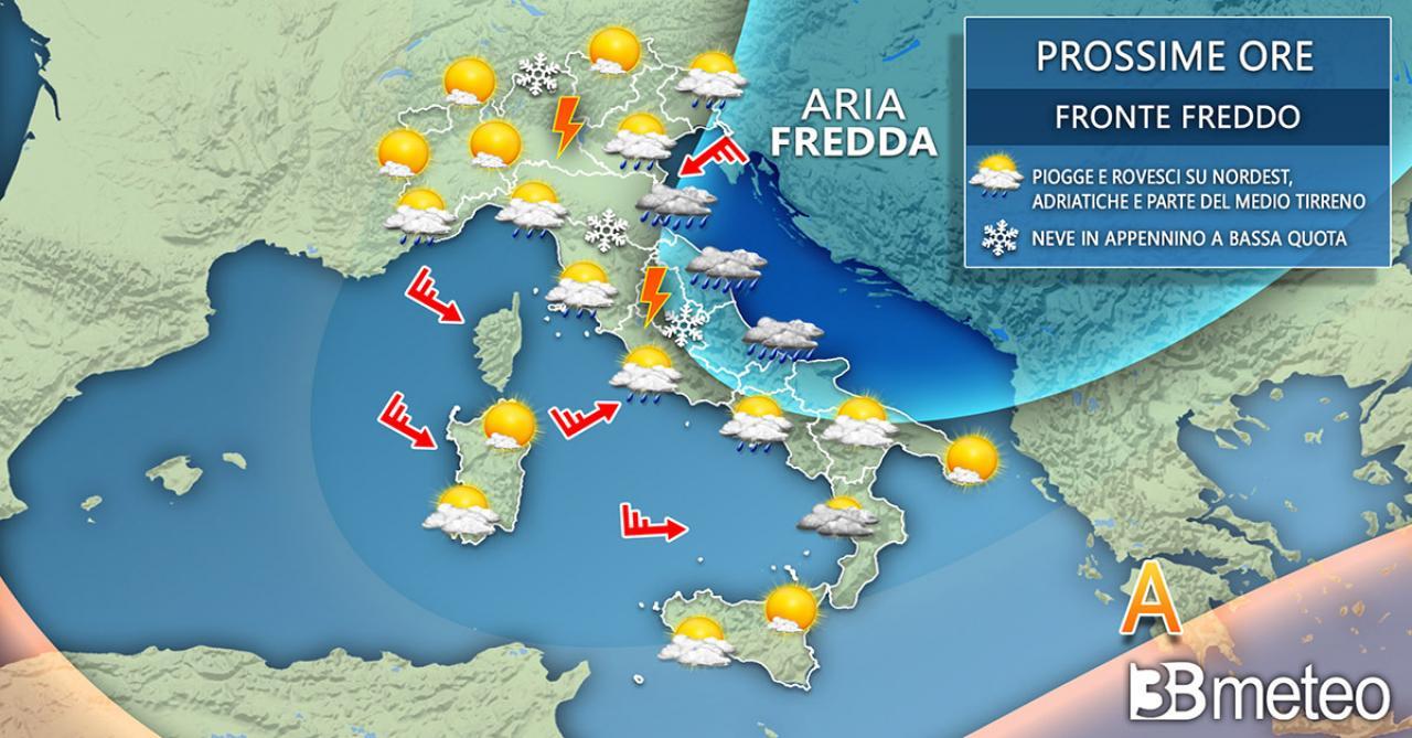 Meteo Italia martedì, irrompe il fronte artico