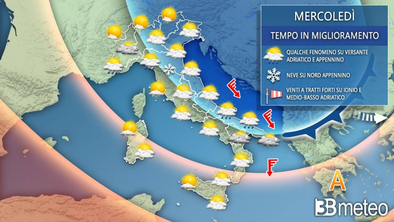 Meteo Italia mercoledì. Ancora freddo e un po' di variabilità