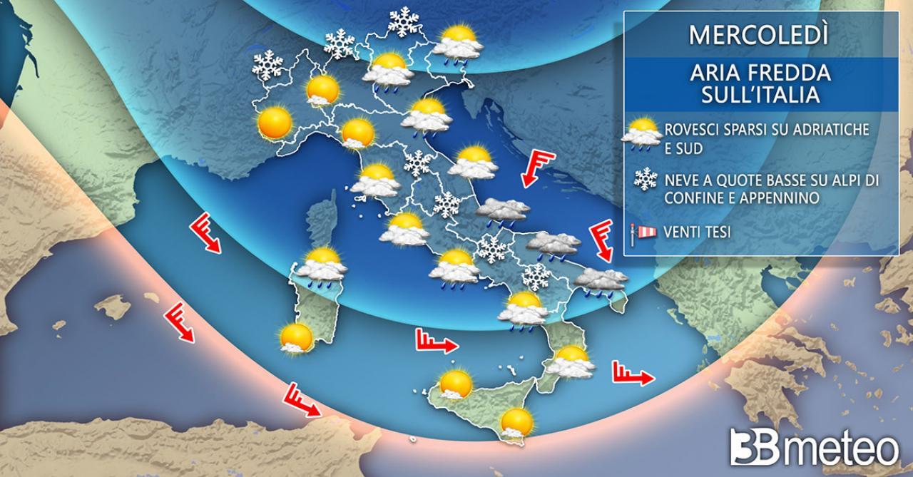 Meteo Italia mercoledì, molto freddo e neve a bassa quota