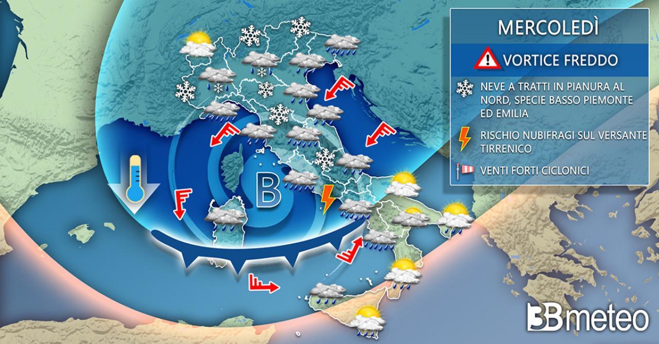 Meteo Italia: mercoledì vortice ciclonico freddo, neve a tratti in pianura al Nord