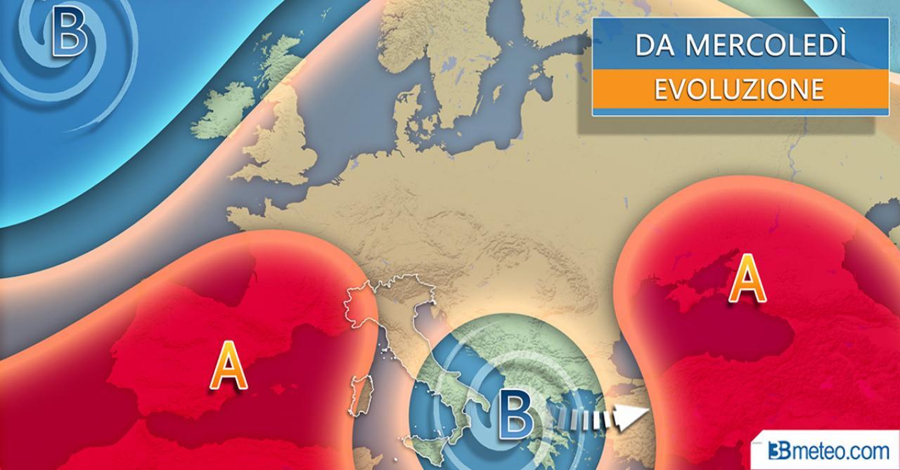 Meteo Italia metà settimana