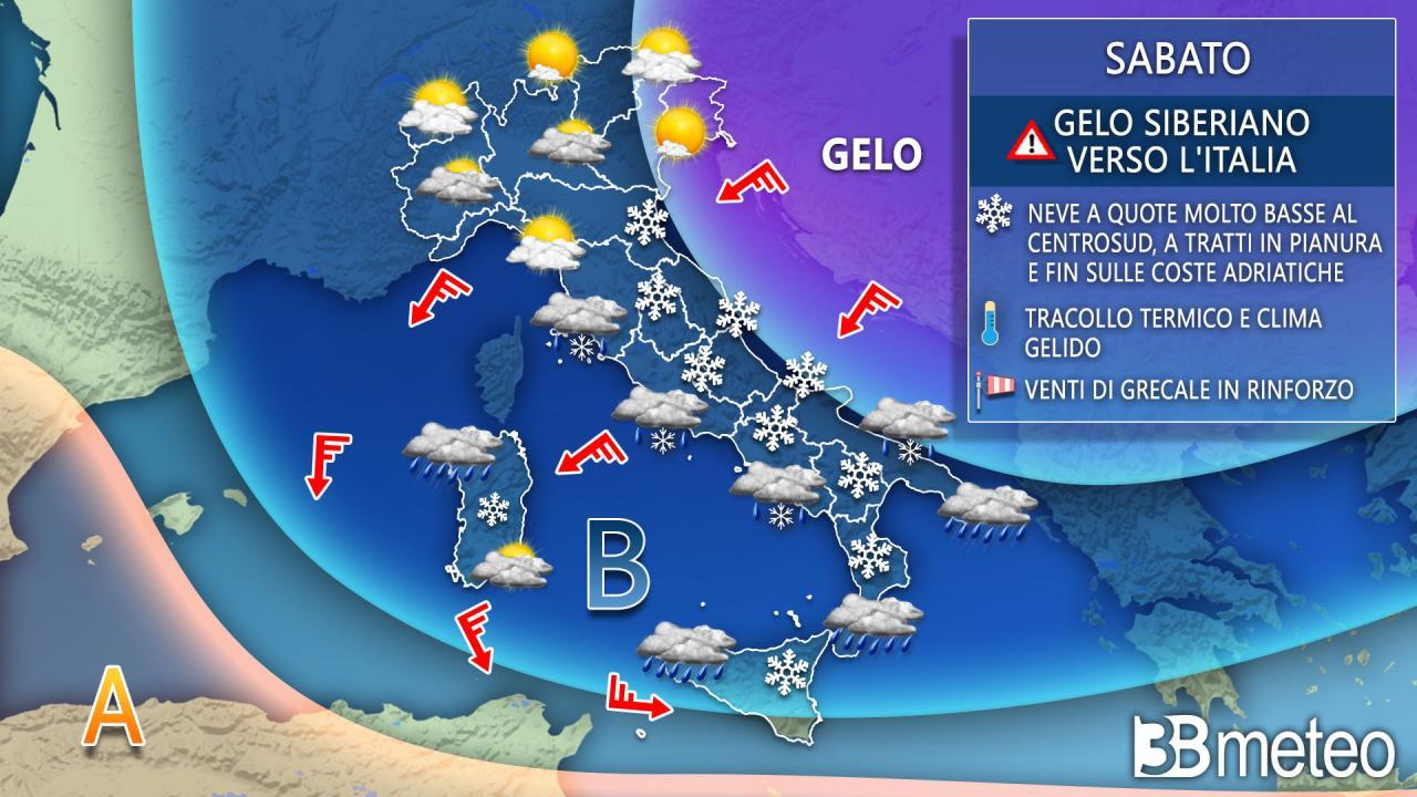 Meteo Italia, previsioni per sabato 13 febbraio