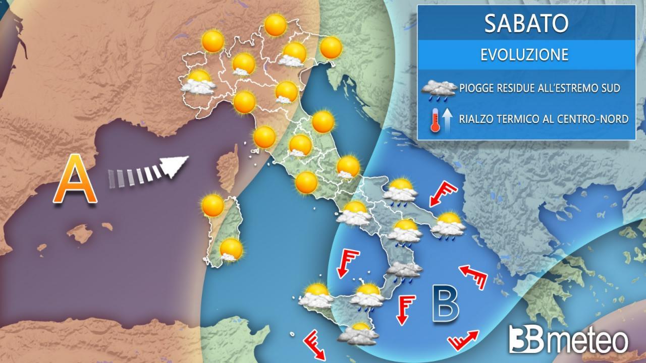 Meteo Italia sabato. residua instabilità al Sud, bello sul resto d'italia
