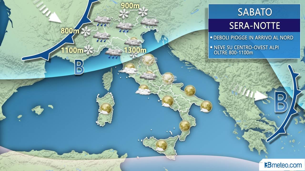 Meteo Italia sabato sera/notte