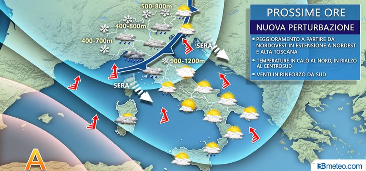 Meteo Italia: situazione prevista nelle prossime ore