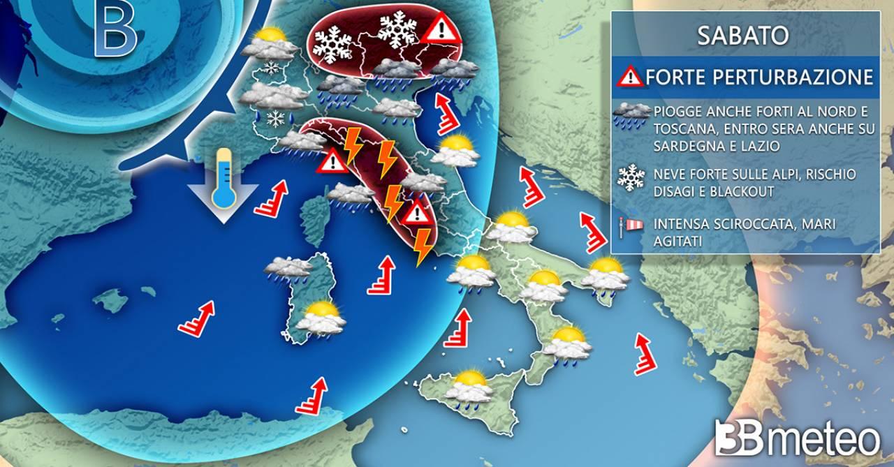 Meteo Italia: situazione prevista sabato