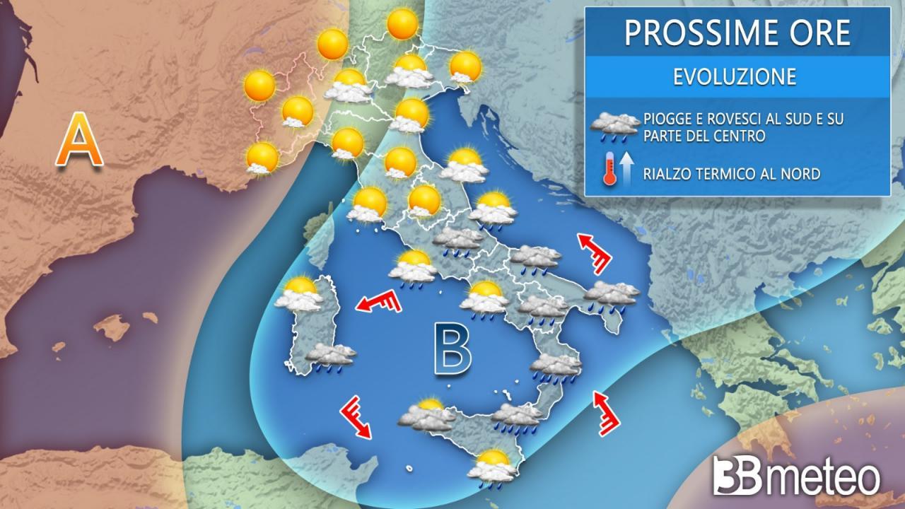 Meteo Italia venerdì. Il maltempo si concentra al Sud