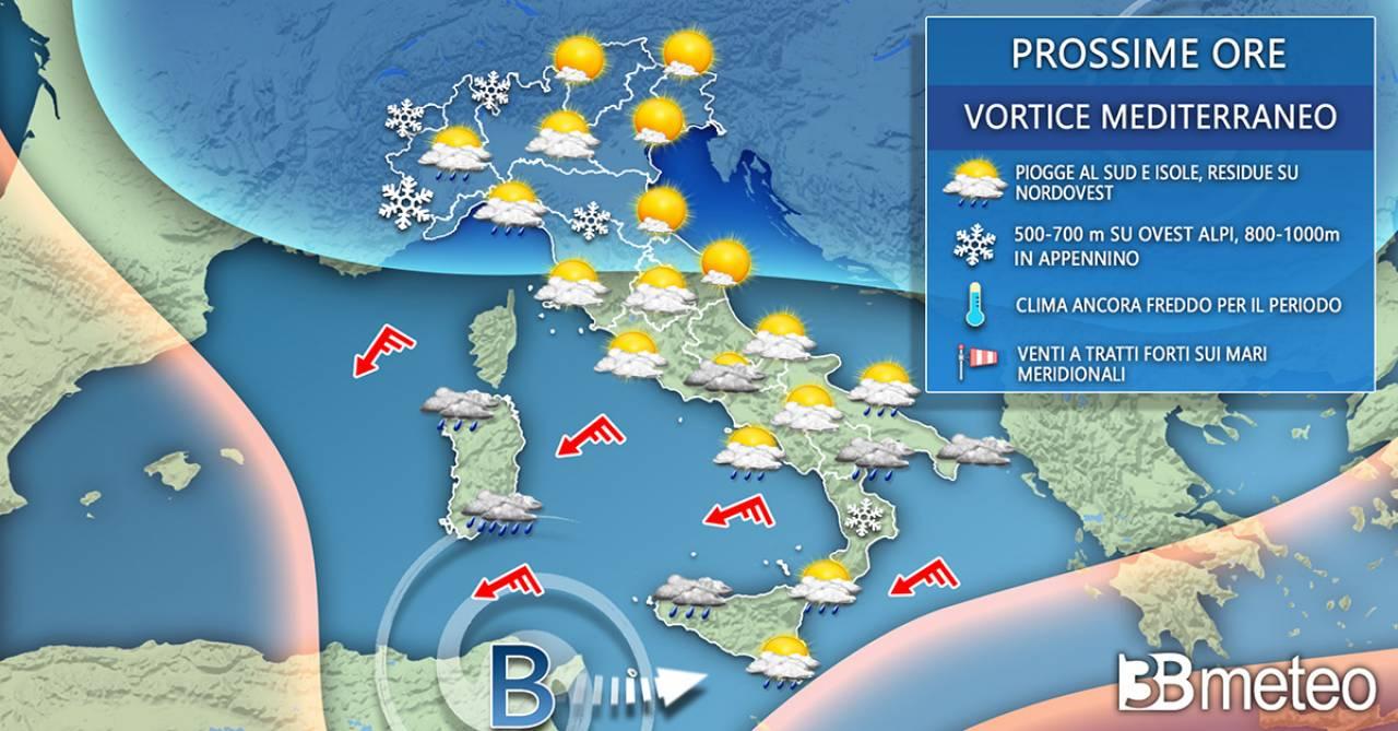 Meteo Italia venerdì. Vortice mediterraneo in azione
