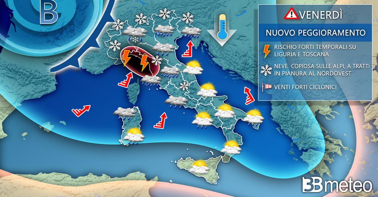 Meteo Italia venerdì