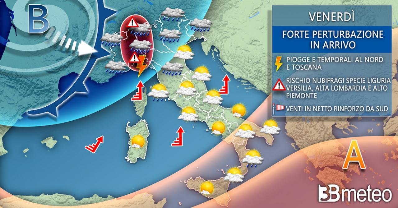 Meteo Italia: venerdì maltempo su parte del Centronord e forte vento