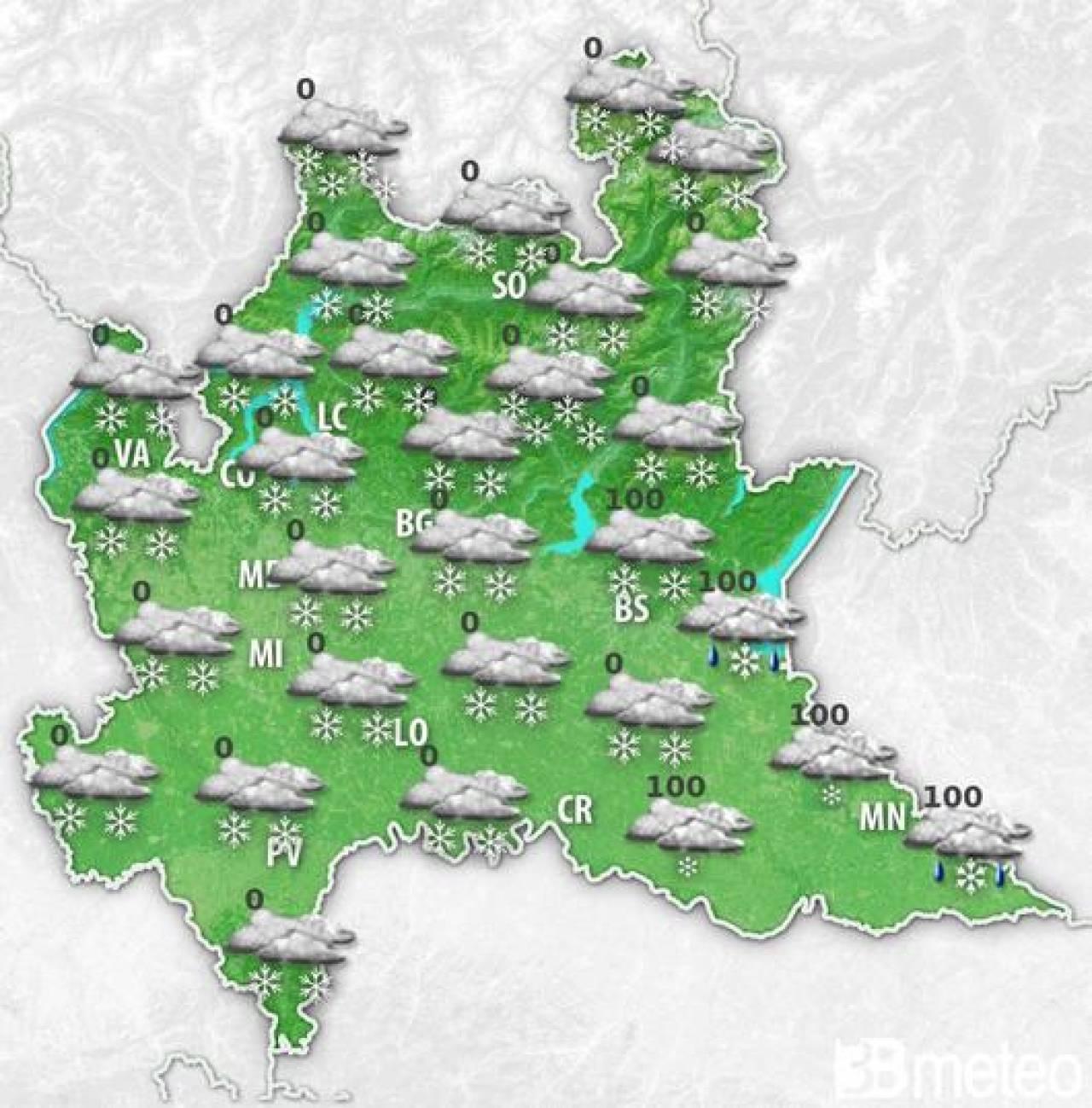 Meteo Lombardia - Nella notte tra domenica e lunedì arriva la neve in pianura