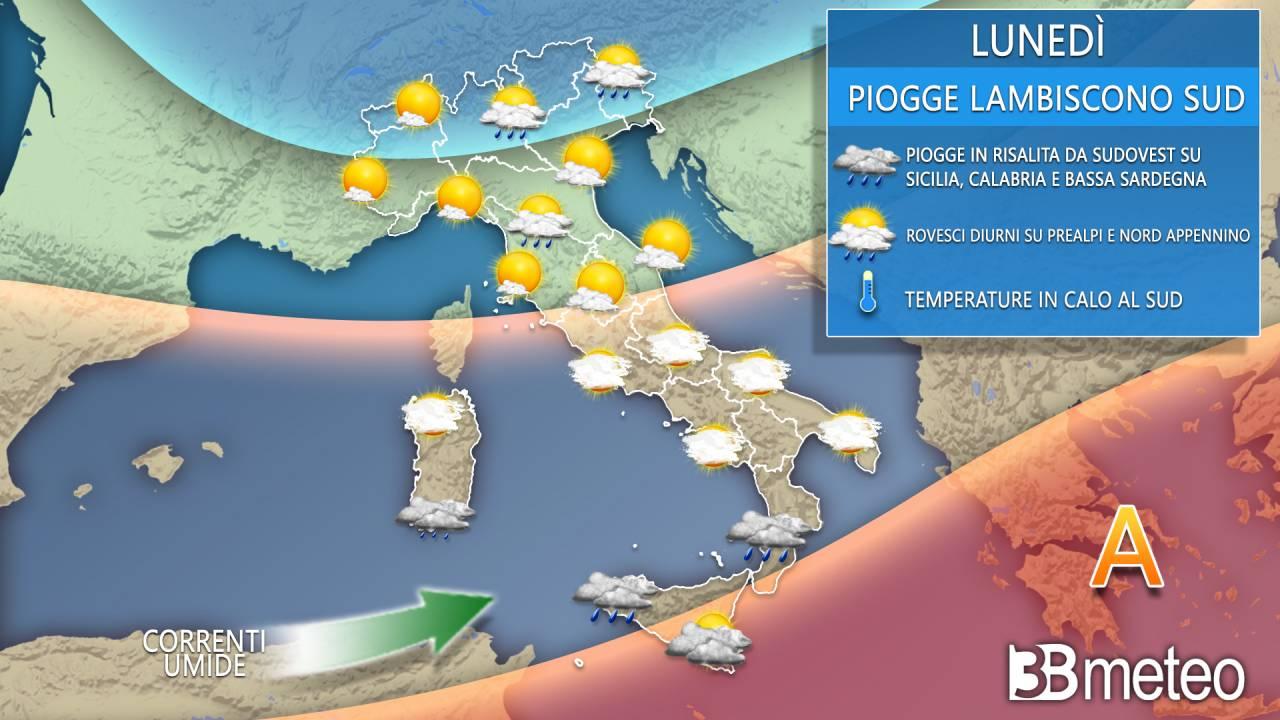 Meteo lunedì. Variabilità diurna su tratti del Nord, qualche pioggia al Sud
