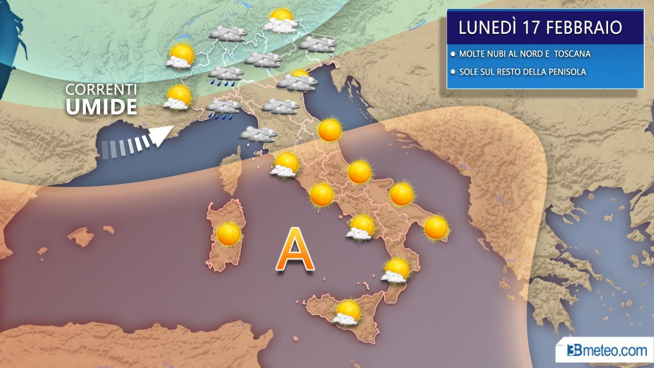 CRONACA METEO . Torna qualche pioggia al Nord, alta pressione e clima mite altrove. Previsioni prossime ore