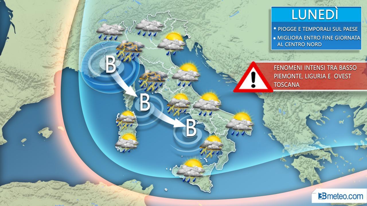 METEO LUNEDÌ --- VORTICE depressionario intorno all'Italia, locali fenomeni di violento MALTEMPO