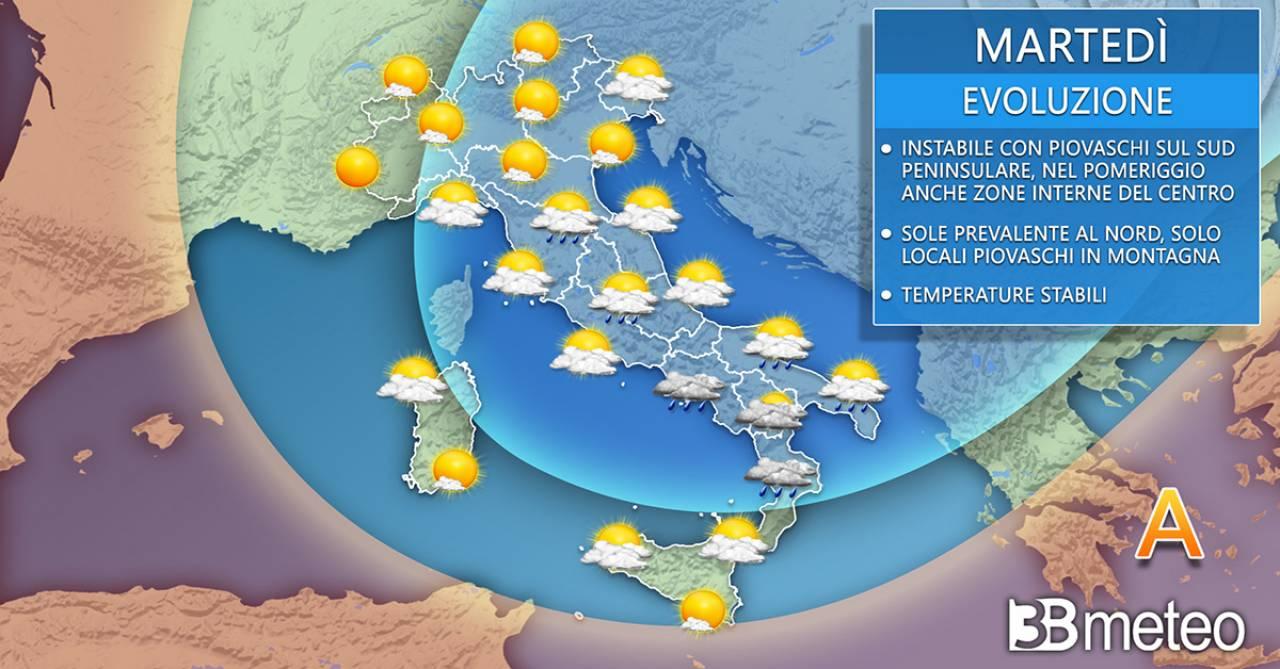 Meteo martedì. Ancora un po' di instabilità al Centro-Sud