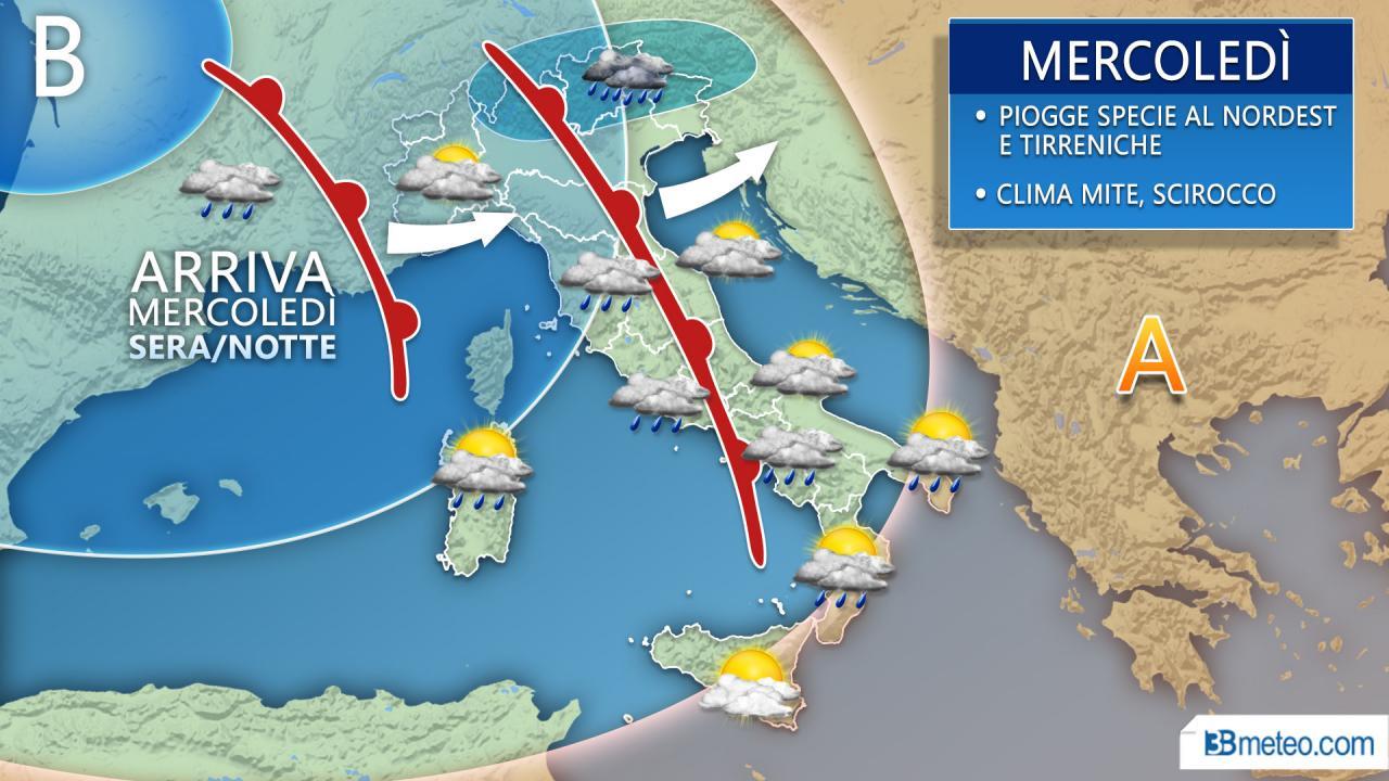 METEO - Nuove PIOGGE e temporali in settimana specie al Centro Nord