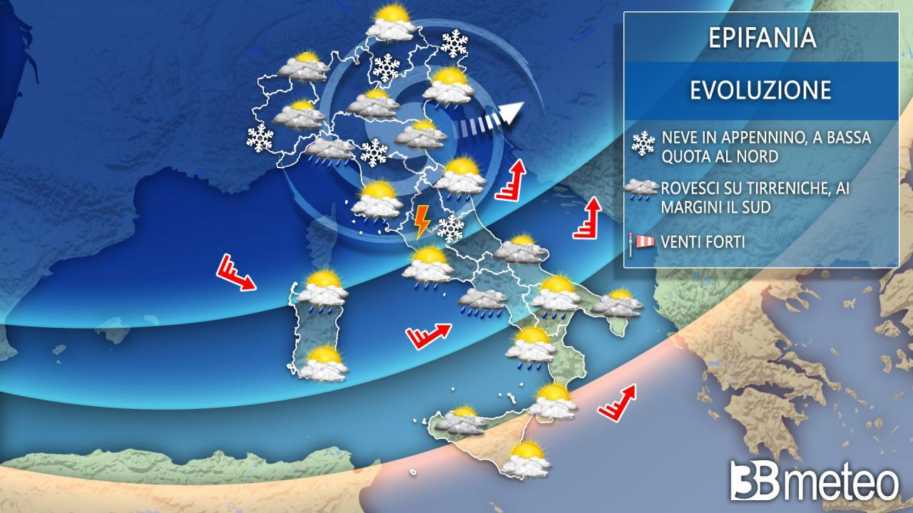 Meteo mercoledì 6 gennaio, Befana: ancora instabile con pioggia e neve