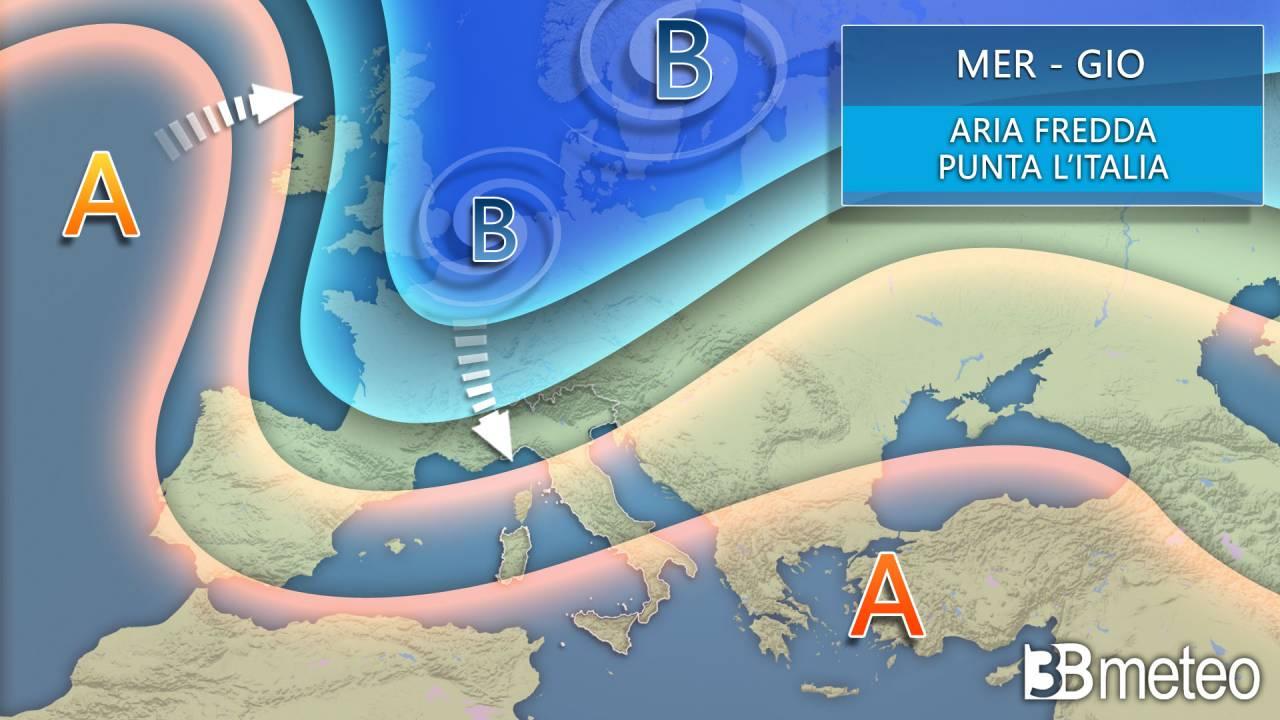 Meteo mercoledì-giovedì aria fredda in discesa da nord