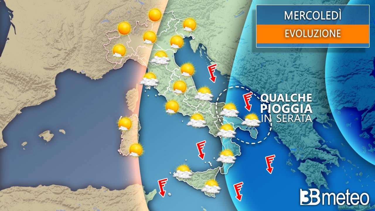 Meteo mercoledì Italia