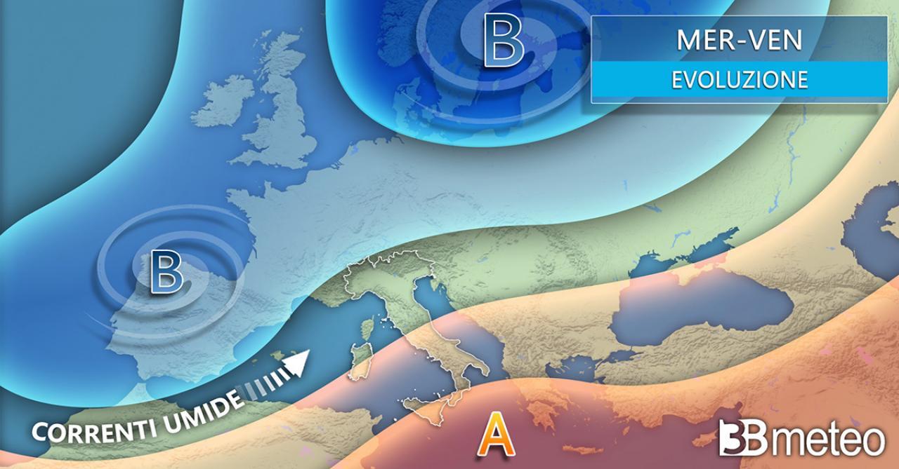 Meteo mercoledì/venerdì. Fronti in transito sull'Europa centrale, anticiclone sul basso Mediterraneo