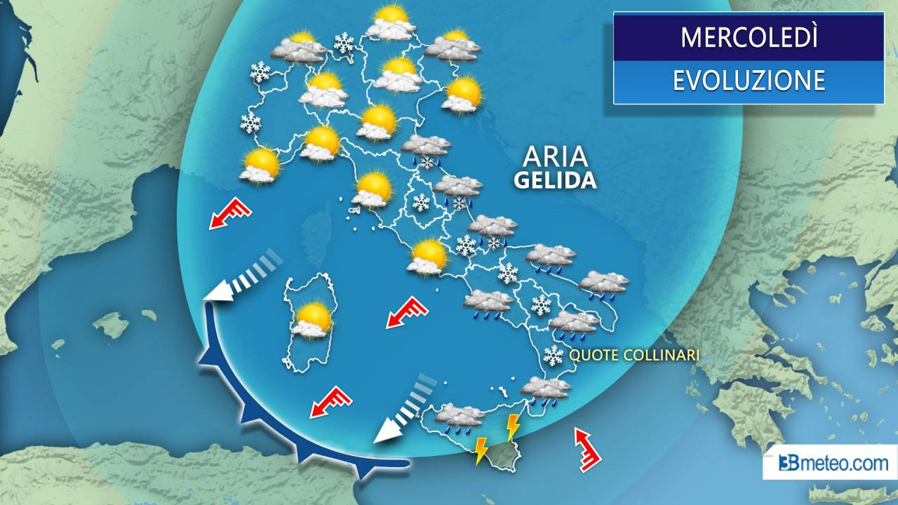 Meteo neve mercoledì