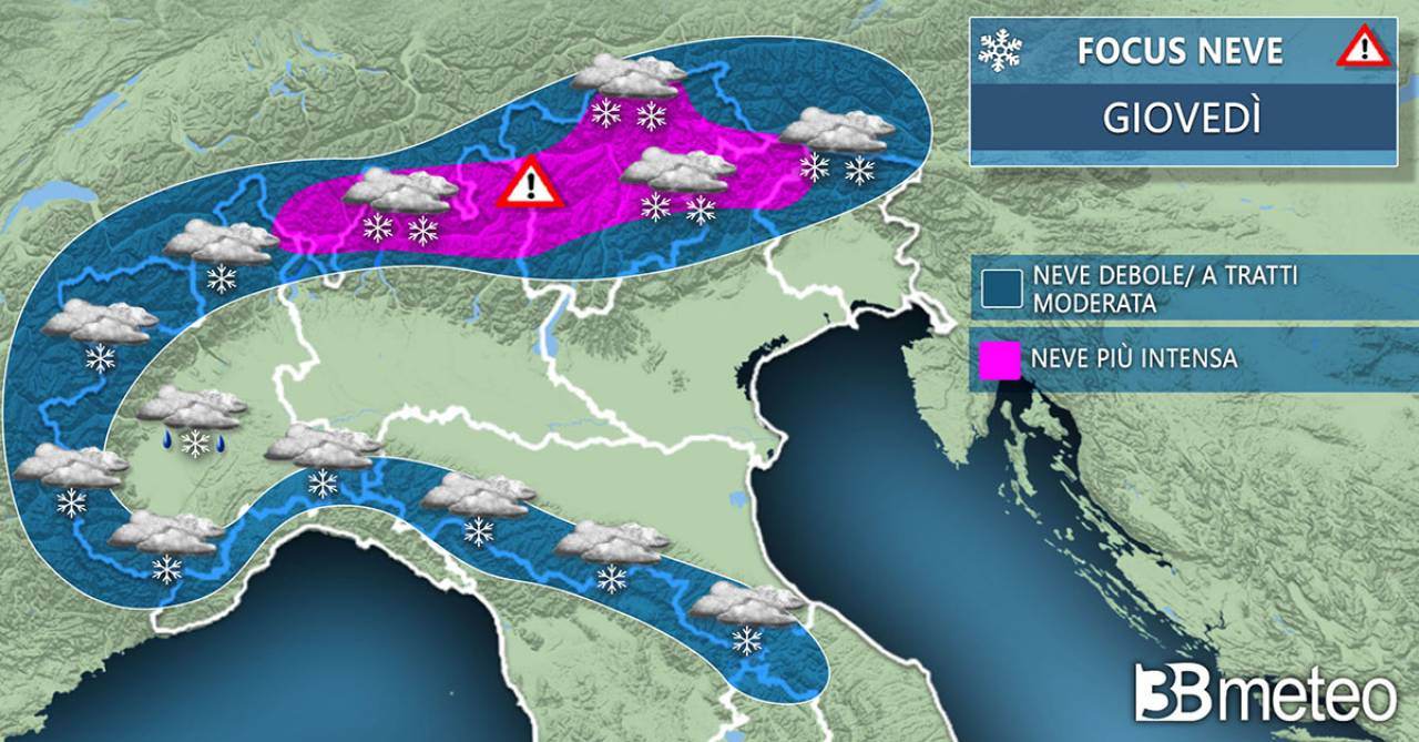 Meteo neve prevista per giovedì