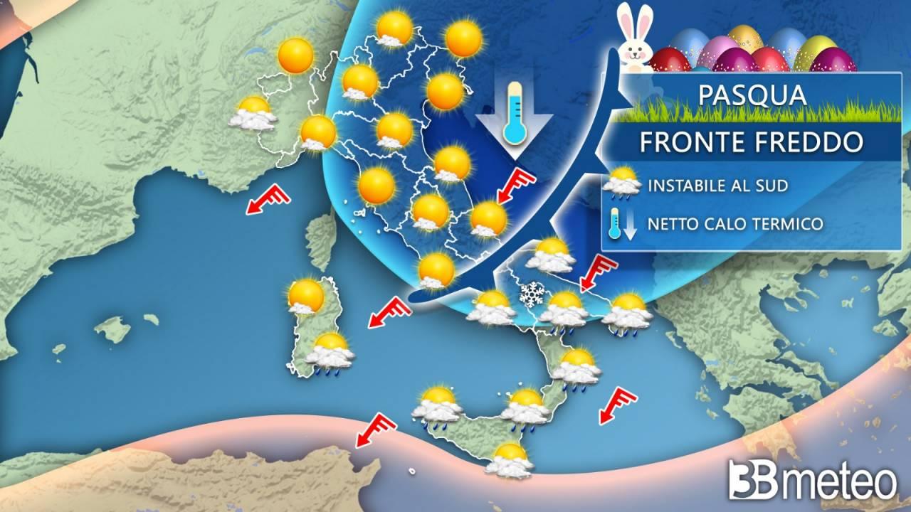 Meteo Pasqua, fronte freddo in discesa sull'Italia