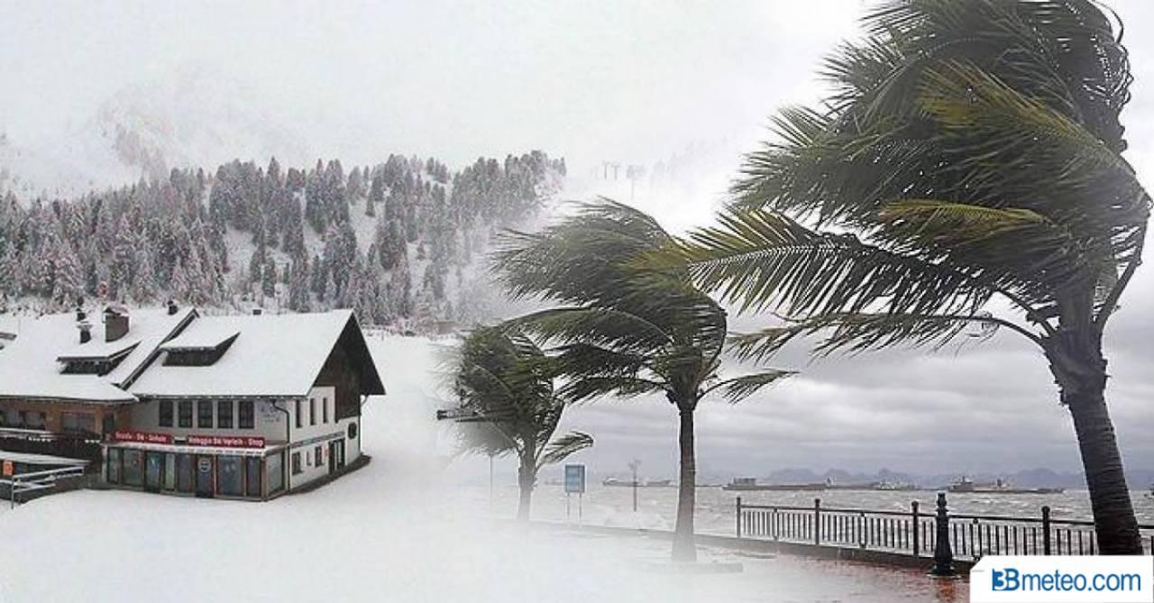 Meteo pioggia, neve e vento sull'Italia
