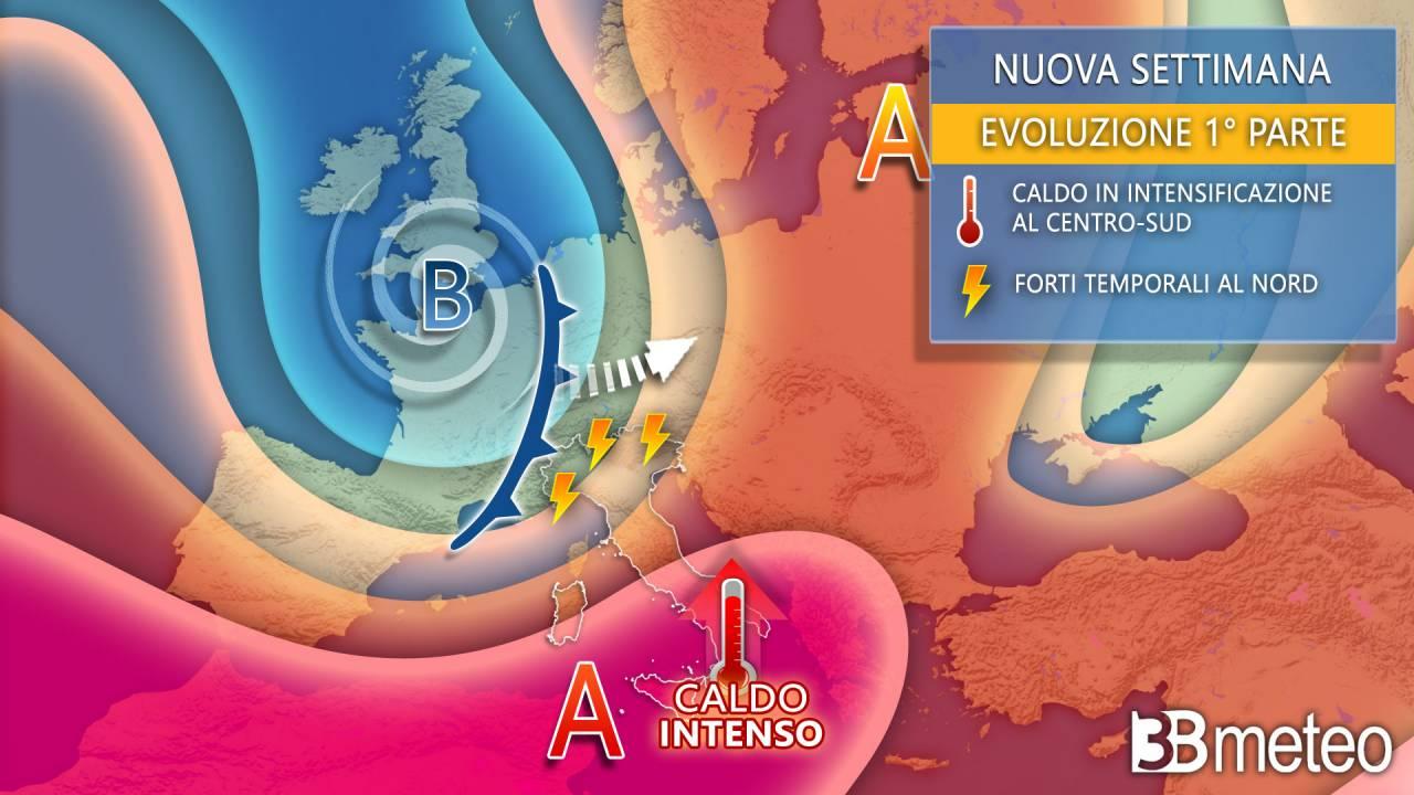 Meteo prossima settimana dai possibili connotati estremi tra caldo africano e forti temporali
