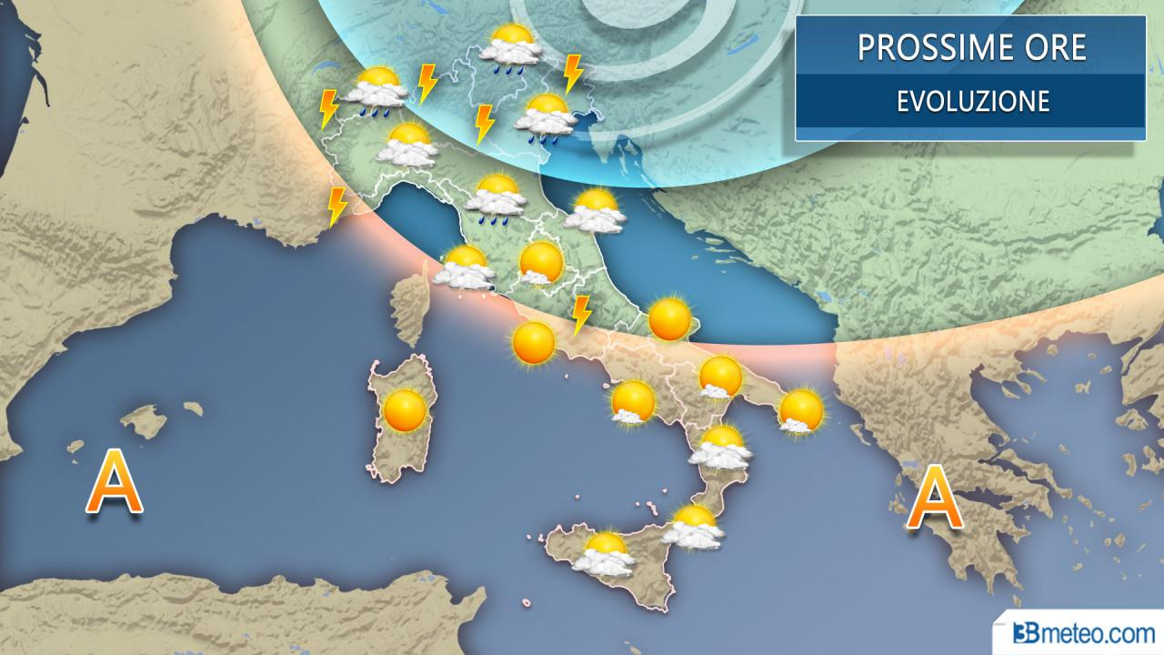 Meteo prossime ore Italia