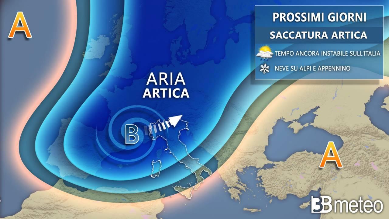 Meteo prossimi giorni, freddo e maltempo sull'Italia con pioggia e neve