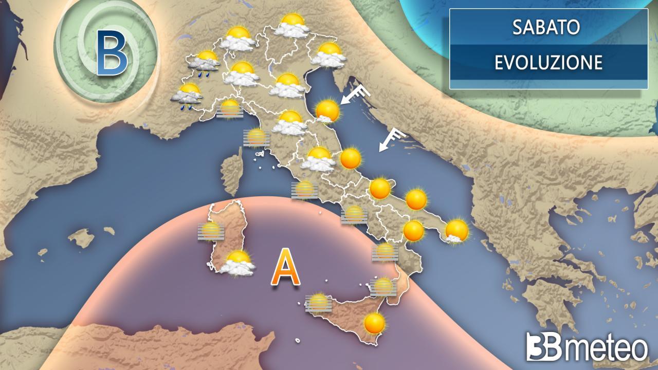 Meteo sabato sull'Italia