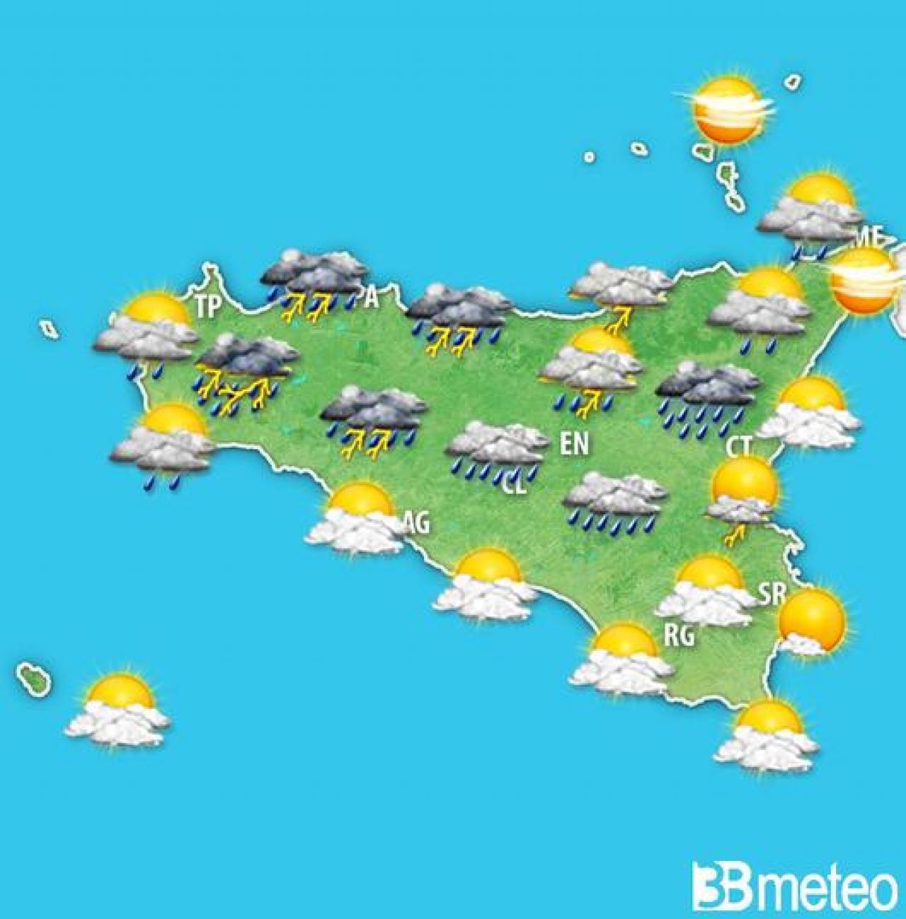 Meteo Sicilia: le condizioni meteo attese venerdì pomeriggio