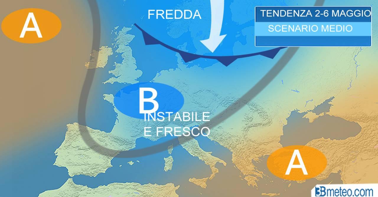 METEO - dopo il 1 Maggio ancora PIOGGE, TEMPORALI, NEVE sulle Alpi e clima FRESCO