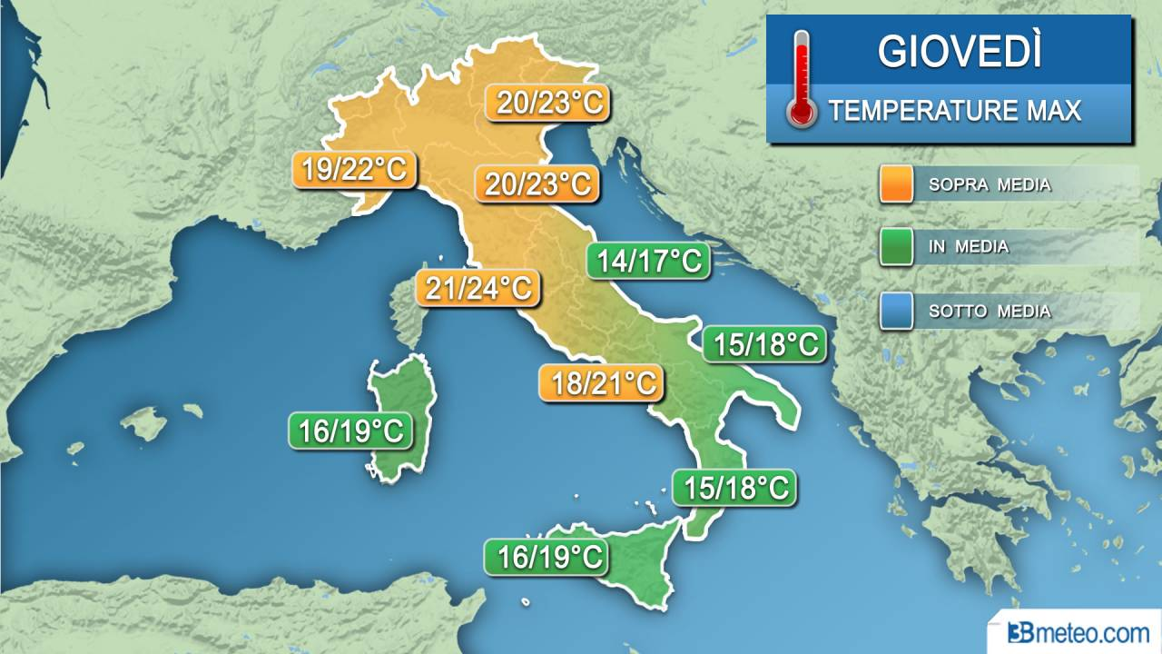 Meteo temperature giovedì