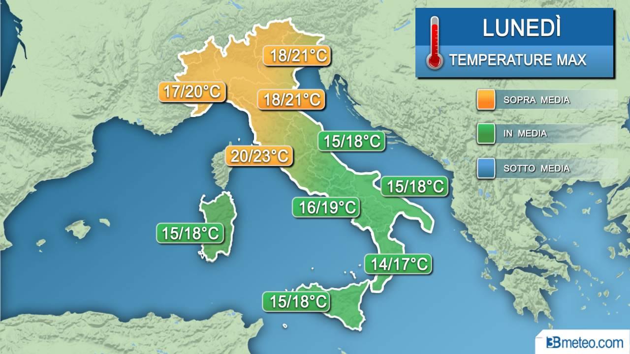 Meteo temperature lunedì
