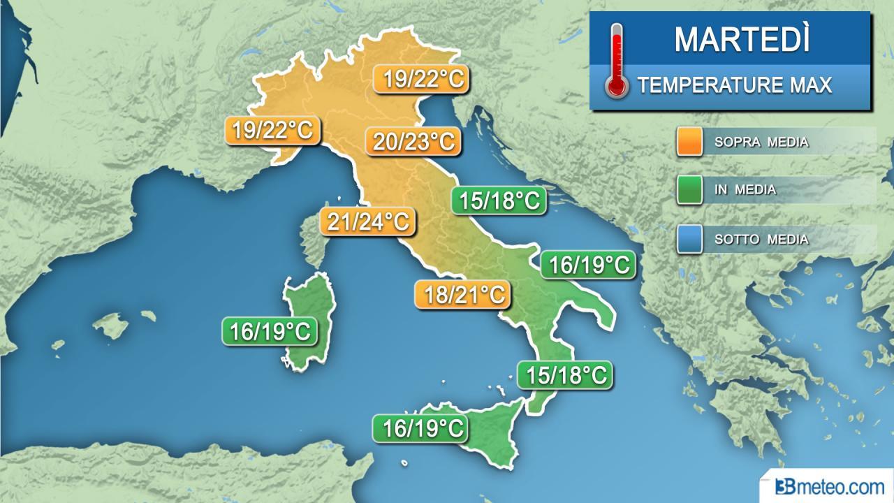 Meteo temperature martedì