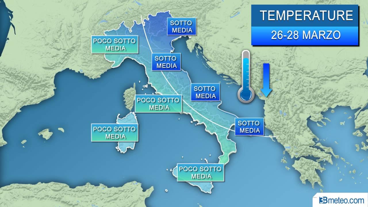 Meteo >| COLPO DI CODA DELL'INVERNO, da lunedì CROLLANO le TEMPERATURE, giù di 10°. Dettagli