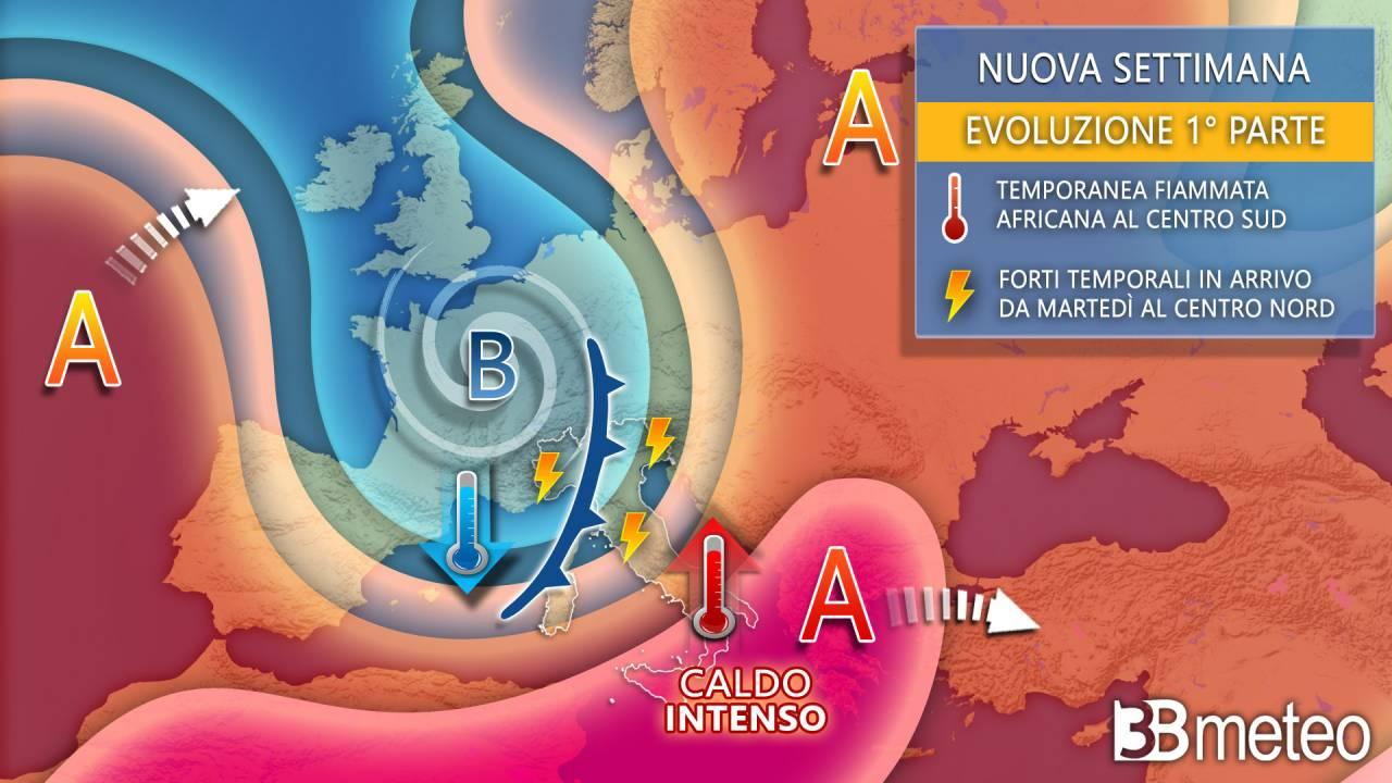 Meteo, tempo instabile - perturbato al Centro Nord nella prima parte della settimana