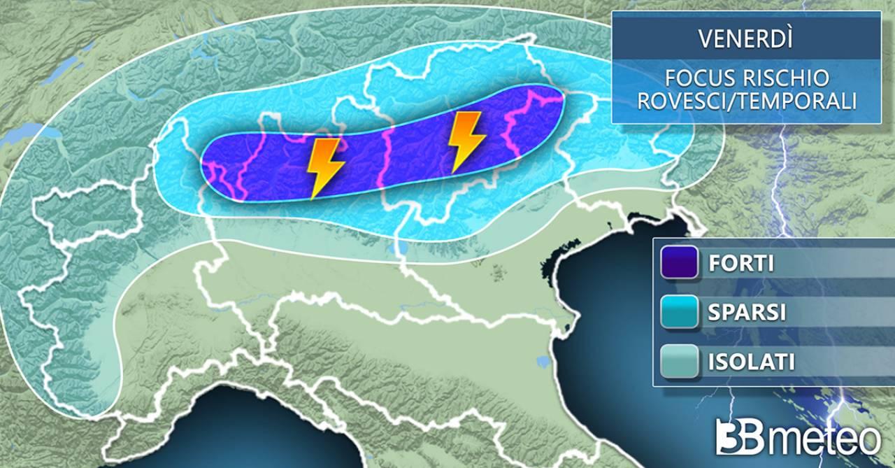 Meteo, temporali previsti per venerdì