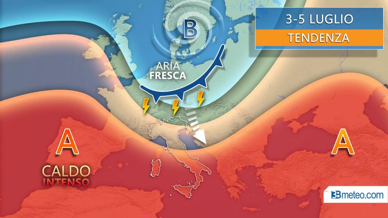 Meteo tendenza 3-5 luglio, rischio temporali su parte d'Italia